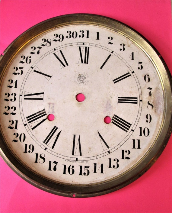 """Antique Waterbury Clock Co. 10 1/2"""" Calendar Clock Dial for your Clock Projects and Etc.. Stk #160"""