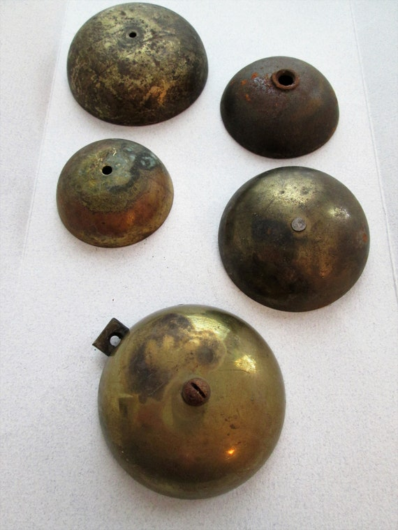5 Assorted Old Alarm Clock Bells for your Alarm Clock Projects - Metalworking - Steampunk Art
