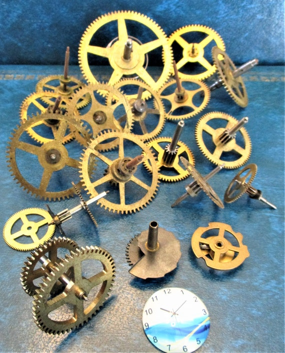 20 Assorted Large and Medium Sized Antique Clock Wheels With Other Parts Attached for your Clock Projects - Steampunk Art - Stk# 393