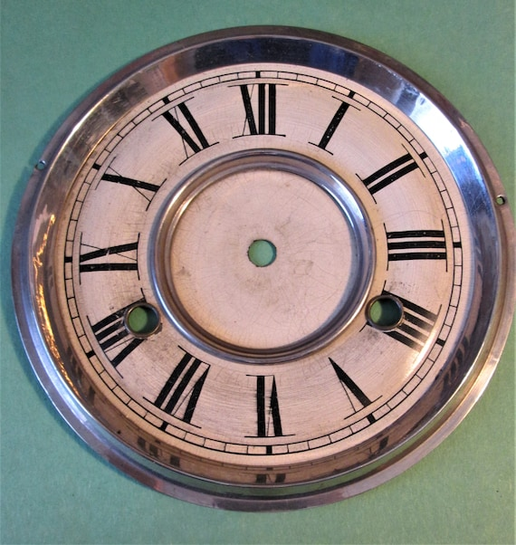 """Nice Vintage 6 3/8"""" Painted Pressed Thick Tin Cock Dial With 3/4"""" Roman Numerals for your Clock Projects, Steampunk Art...Stk#604"""