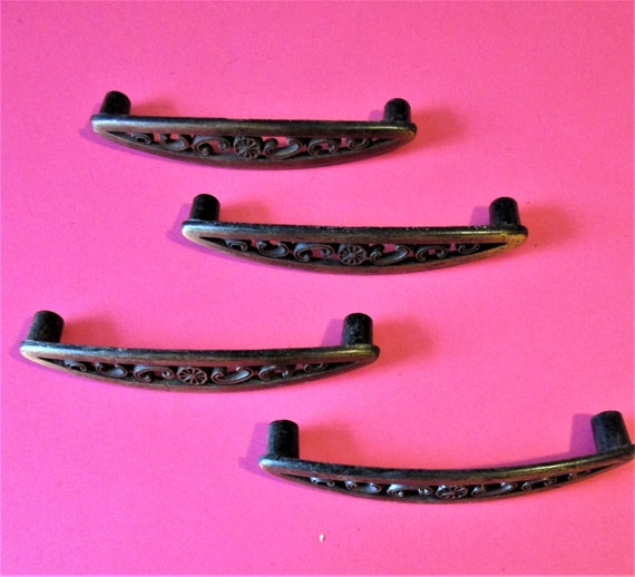 4 Vintage Dark Bronze Colored Cast Metal Furniture Pulls for your Furniture Projects - Steampunk Art and Etc..Stk# 854