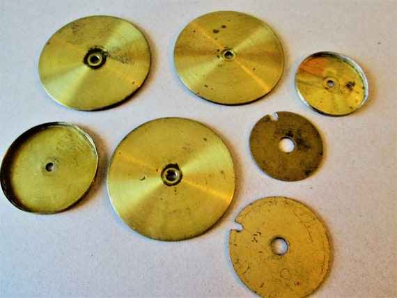 7 Assorted Old Brass Clock Main Spring Barrel Covers for your Clock Projects - Steampunk Art - Metalworking and Etc....