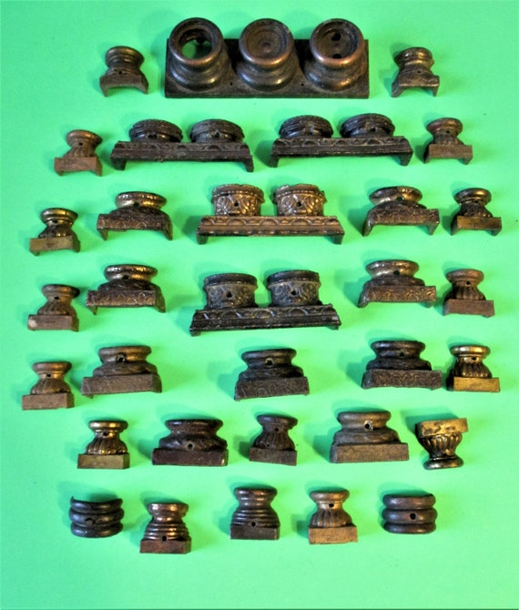 32 Assorted Antique & Vintage Cast Metal Mantle Clock Feet for your Clock Projects, Steampunk Art + Etc.. Stk#501