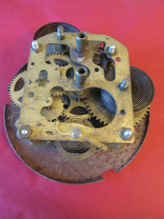 "1  4"" Old, Tarnished and Rusty Brass and Steel Partial Clock for your Clock for your Clock Projects, Steampunk Art,"