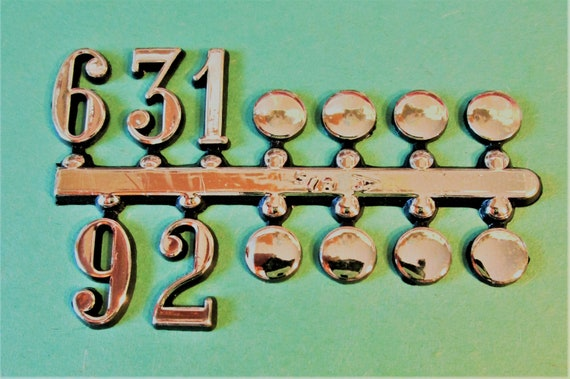 """1 Set of 5/8"""" Shiny Gold Plastic Numbers 12 3 6 9 with Dots for your Clock Projects, Scrap Booking, Steampunk Art Stock#14"""