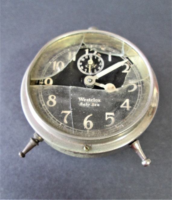 Old, Damaged, Rusty & Dusty Vintage Westclox Baby Ben Alarm Clock for Parts/Repair  Stk# 516