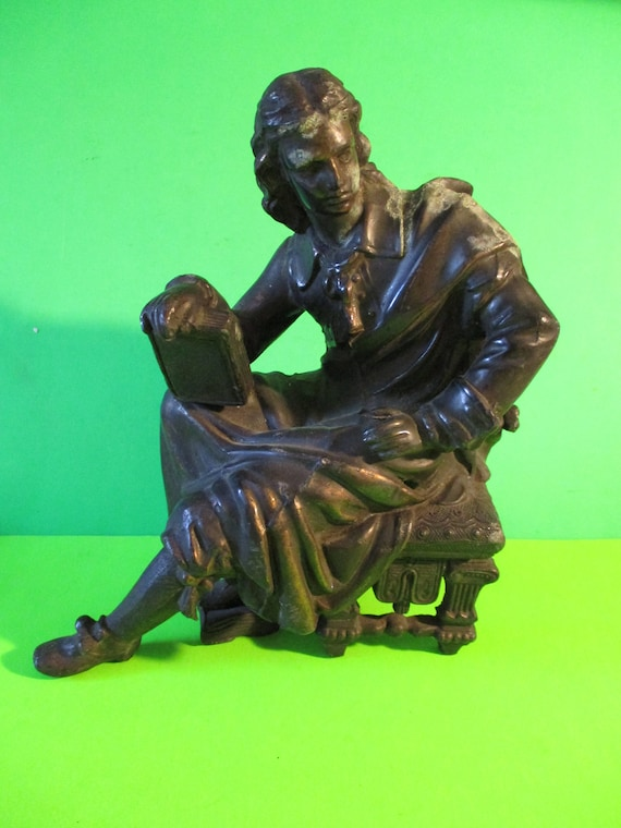 """Vintage 7 3/4"""" Tall Heavy Cast Bronze Sitting Man with Book Clock Topper/Art Statue"""