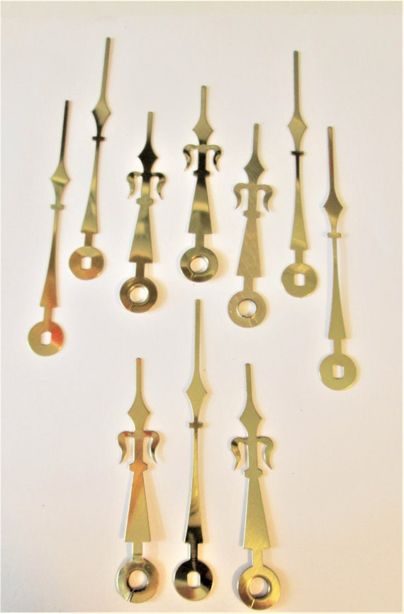 6 Pairs of Shiny Brass Plated Steel French Trident Style Clock Hands for your Clock Projects - Art - Jewelry Making Stk# 308