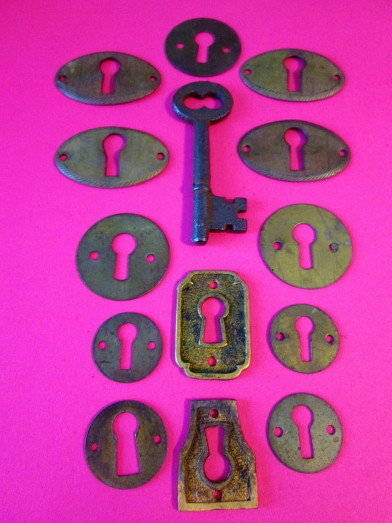 12 Assorted Vintage Brass Door Key Holes for your Furniture Projects, Steampunk Art and Etc..