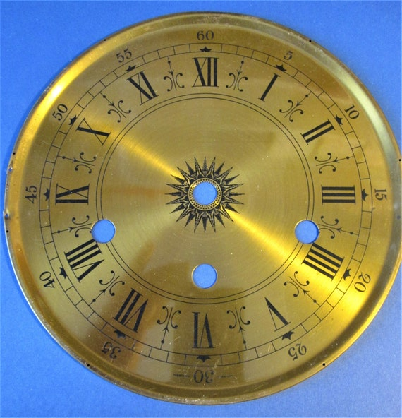 """Nice Vintage 6 1/2"""" Dark Solid Brass German Clock Dial With 1/2"""" Roman Numerals  for your Clock Projects, Steampunk Art...Stk#616"""