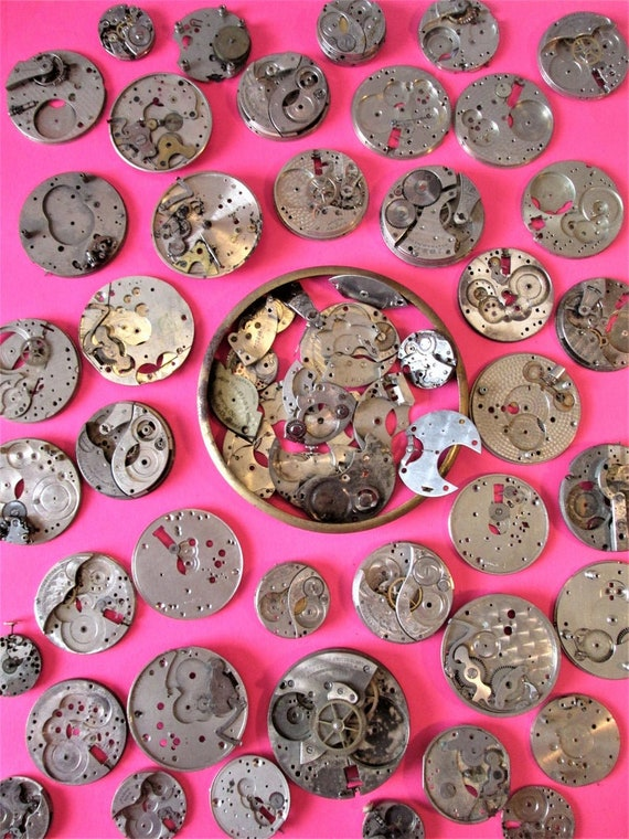 75 Piece Lot of Old Assorted Steel & Chrome Pocket Watch Parts for your Watch Projects, Steampunk Art, Jewelry Crafts and Etc.Stk#106
