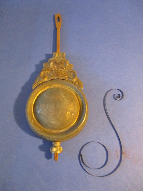 """Original Old & Worn Fancy Pressed Solid Brass, Cast Metal and Steel Clock Pendulum 4.5 Ounces 6 3/4"""" For your Clock Projects - Art Stk# 106"""