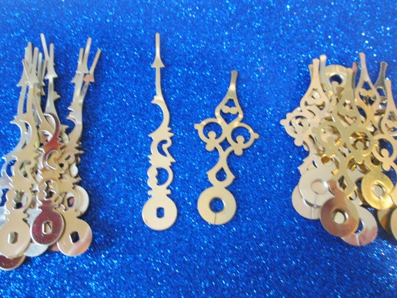 """12 Pairs of New Shiny Brass Plated Steel Serpentine Design Clock Hands - Make Clocks, Jewelry, Steampunk Art and Etc... 3 3/8"""" and 2 5/8"""""""