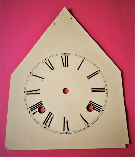 """5 1/2"""" Cream Colored Paper on Steel Steeple Clock Dial with Roman Numerals for your Clock Projects and Etc.. Stk #174"""