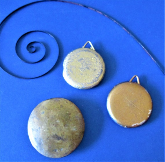 3 Old Brass Brass and Cast Metal Pendulum Bobs for your Clock Projects - Steampunk Art - Stk#407