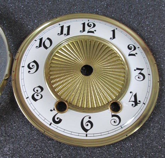 """5 5/8"""" Vintage German Made Fancy Clock Dial with Bezel and Glass for your Clock Projects Stk# 373"""