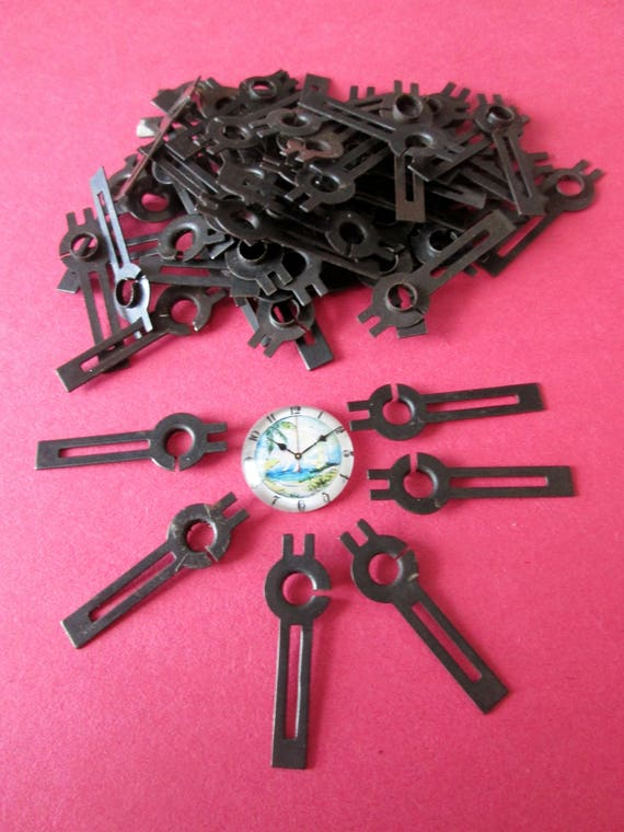 "72 Small 1 1/4"" Vintage Black Cut Out Design Steel Clock Hour Hands for your Clock Projects,  Jewelry, Steampunk Art  Etc.Stk#232"
