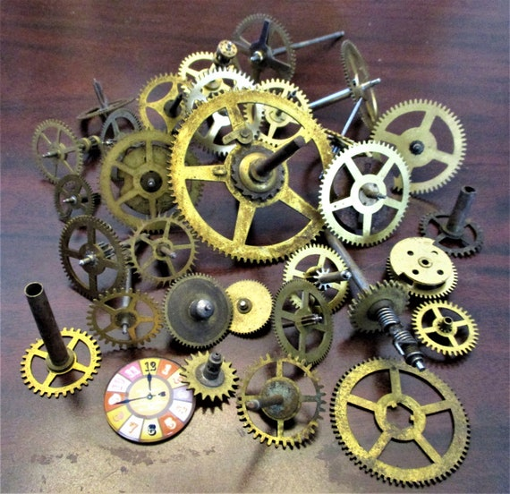 30 Assorted Antique Clock Wheels With Other Parts Attached for your Clock Projects - Steampunk Art - Stk# 389