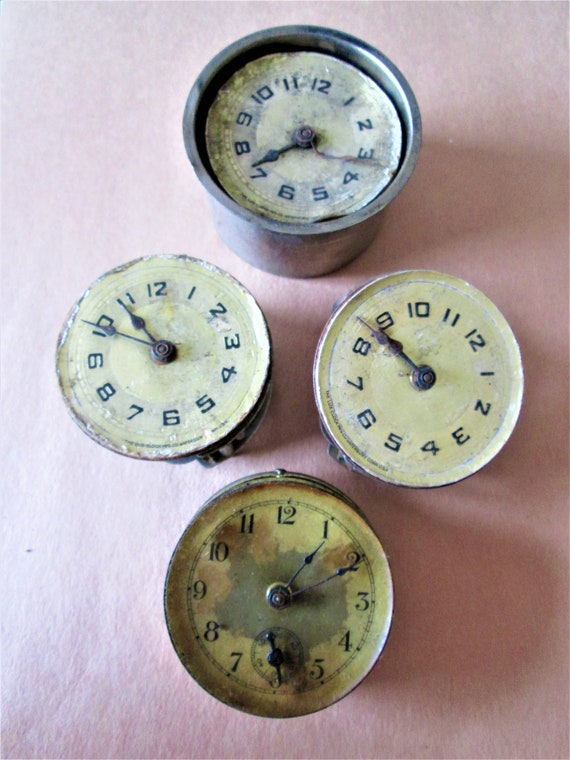 "Lot of 3 Vintage Assorted Small 2"" Partial Lux Brand Clocks and 1 Random Clock for Repair/Parts Steampunk Art and Etc..Stk# 523"