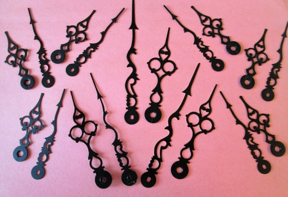 9 Pairs of Assorted Sized Black Steel Serpentine Design Clock Hands for your Clock Projects, Jewelry Making, Steampunk Art and Etc.