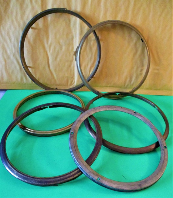 5 Solid Brass and 1 Tin Vintage Clock Front Bezels for your Clock Projects - Art - Stk# 284