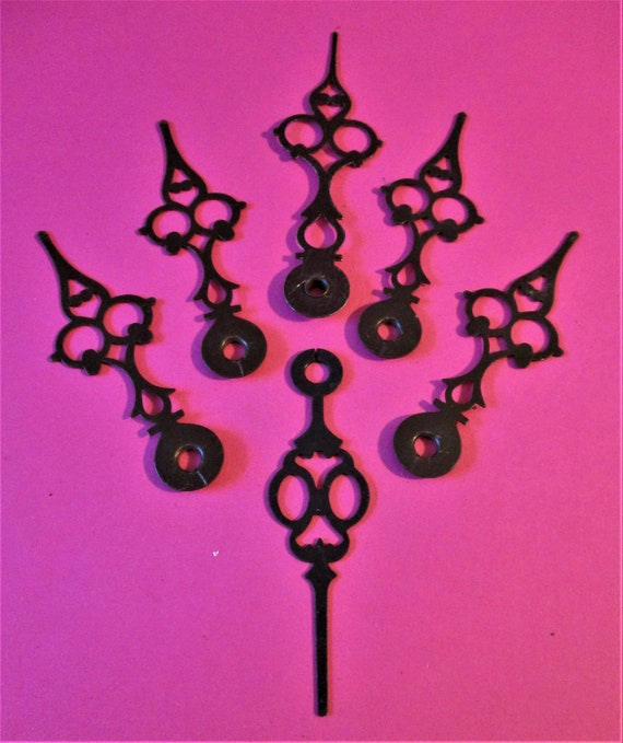 6 Vintage Dark Brown Serpentine Clock Hour Hands for Clock Projects, Jewelry Making, Steampunk Art, Crafts  Etc..Stk# 569