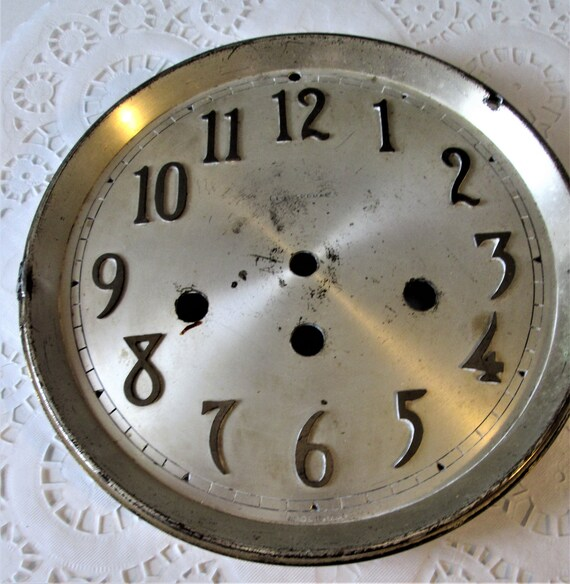 Old and Worn Seth Thomas Clock Dial With Front Door and Back Bezel for your Clock Projects - Art - Stk# 362