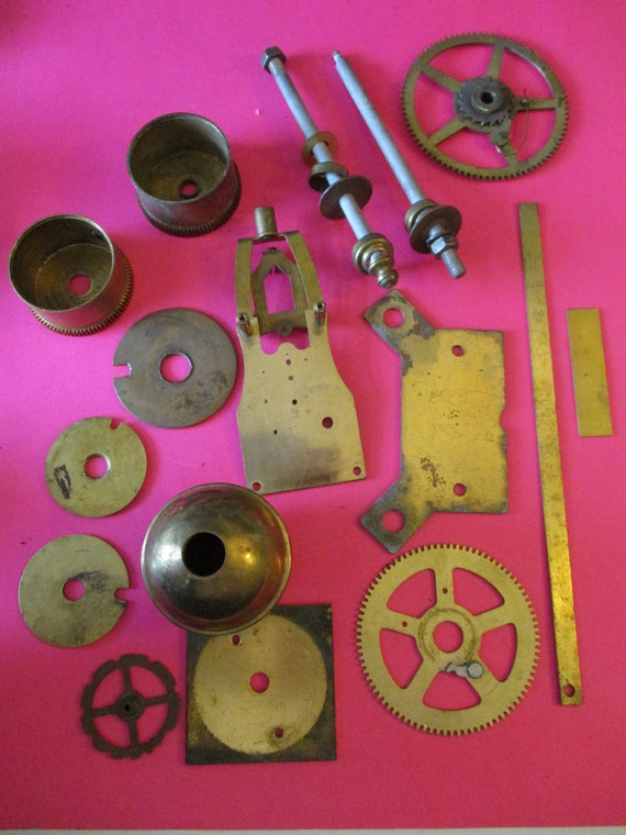 16 Piece Lot of  Antique & Vintage Solid Brass and Steel Clock Parts for your Clock Projects - Art -  Stk# 337