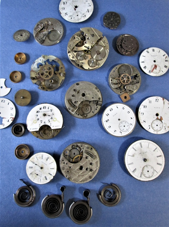 Antique and Vintage Assorted Partial Pocket Watch & Wrist Watch Mechanisms and Springs *Elgin*Waltham*Standard* Stk# W82 -