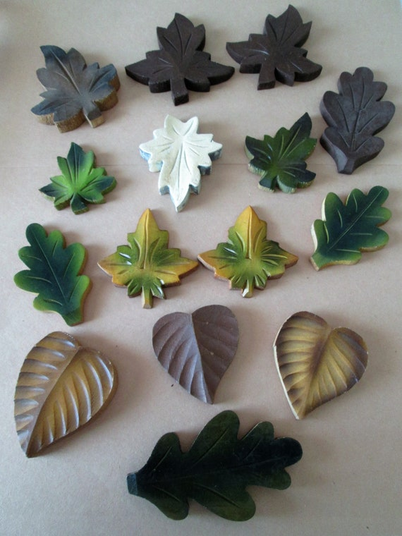 15 Assorted Painted Wood Cuckoo Clock Leaf Ornaments for your Clock Projects - Crafts