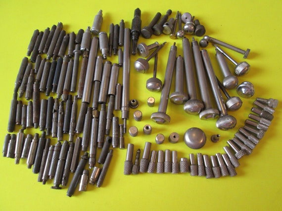 Large Lot of Vintage Steel and Chrome Clock and Alarm Clock Bits, Pieces and Winders for your Steampunk Art Projects - Metalworking Stk#199