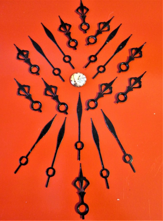 10 Pairs of Small Black Steel Cut Out Design Clock Hands for your Clock Projects, Steampunk Art Etc...Stk#569