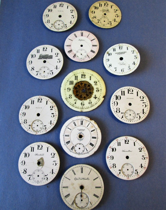 12 Assorted Antique and Vintage Porcelain Pocket Watch Dials for your Watch Projects - Jewelry Making - Steampunk Art