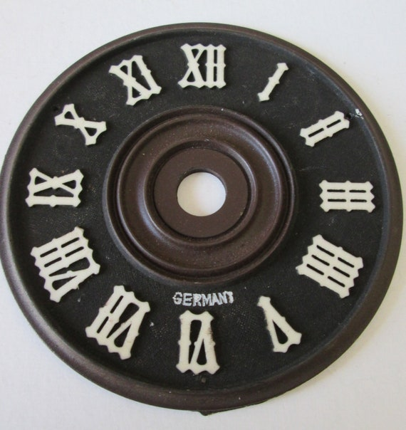 "3 1/8"" Plastic Black and Brown German Made Cuckoo Clock Dial with 3/8"" White Roman Numerals for your Clock Projects - Crafts"