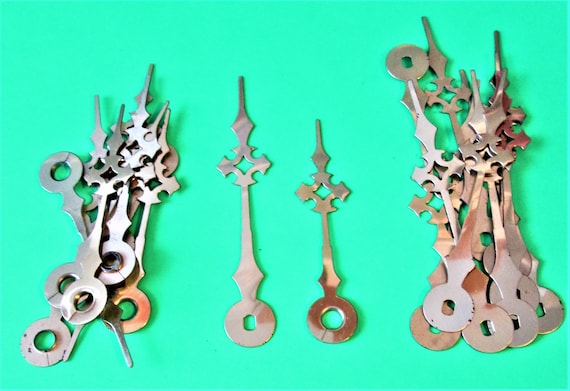 10 Pairs of Vintage Brass Plated Maltese Style Clock Hands for your Clock Projects, Jewelry Making, Steampunk Art and Etc.Stk#697