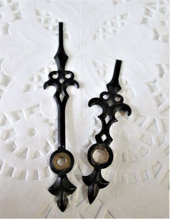 1 Pair of Black Painted Solid Pressed Brass Fancy/Gothic Style Clock Hands for your Clock Projects - Jewelry Making Stk#283