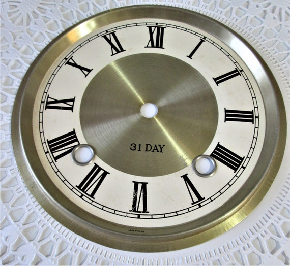 """6 1/4"""" New Pale Brass Colored Aluminum Clock Dial with 5/8"""" Roman Numerals Stk#99"""