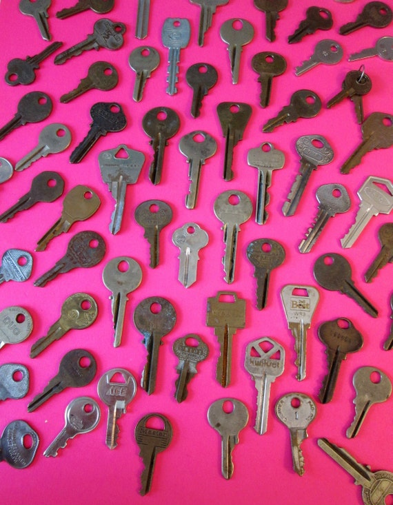 64 Assorted Vintage Keys Many Different Brands - Fancy and Plain - for your Steampunk Art, Crafts - Jewelry Making