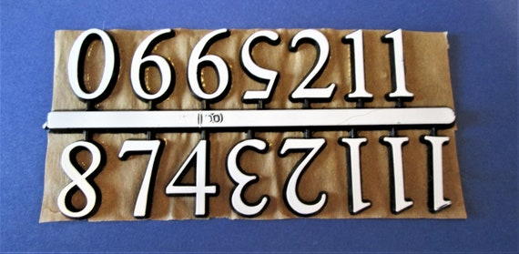 """1 Set of 5/8"""" White Plastic Press on Numbers for your Clock Projects, Scrap Booking, Steampunk Art Stock#37"""