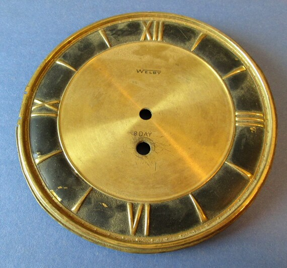 "6"" Old And Worn Welby 8 Day Brass Plated Steel Clock Dial With Roman Numerals for your Clock Projects, Steampunk Art...Stk# 109"