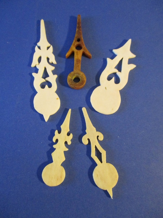 4 Assorted Antique Bone Cuckoo Clock Hands for your Cuckoo Clock Projects - Art -  Stk #734