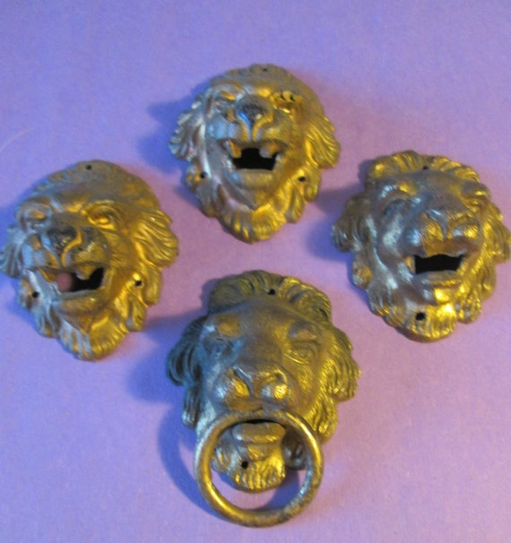 4 Large Original Antique Gold Painted Cast Metal Lion Head Clock & Furniture Ormaments for your Projects - Steampunk Art - Metalworking