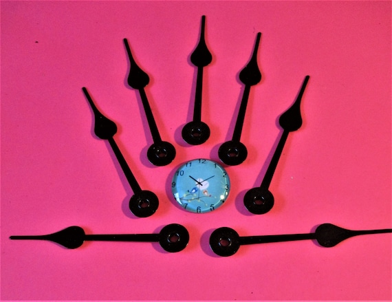 12 Vintage Dark Brown Painted Aluminum Spade Design Clock Hour Hands for your Clock Projects - Steampunk Art - Jewelry Making - Stk# 383