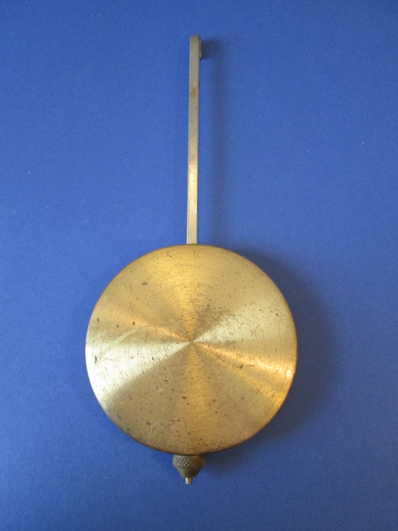 """6 1/2"""" Long Vintage Brass Plated Clock Pendulum With 2 5/8"""" Bob for your Clock Projects - Steampunk Art - Metelworking"""