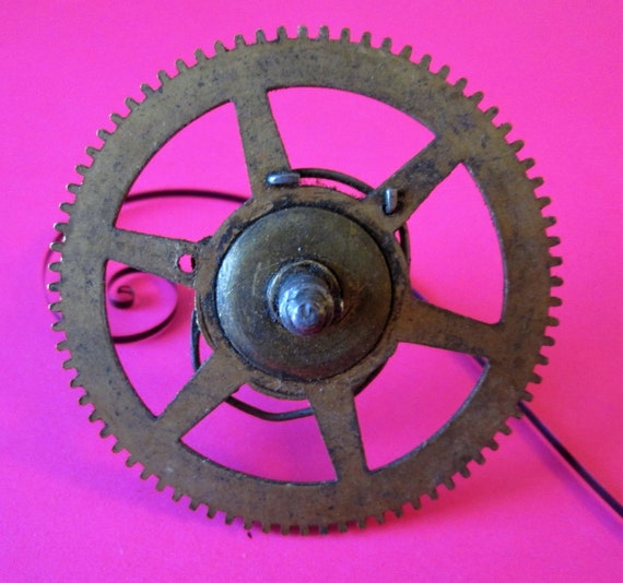 1 Large Brasss & Steel Wheel with Stem for Antique and Vintage Clocks - Steampunk Art