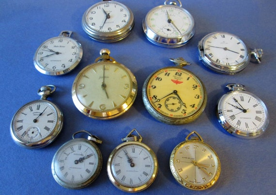 10 Assorted Vintage Open Face Style Pocket Watches for Repair/Parts - Steampunk Art -