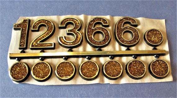 1 Gold Plastic with Yellow Sparkled Press On Clock Numbers and Dots for your Clock Projects, Scrap Booking, Steampunk Art Stock#60
