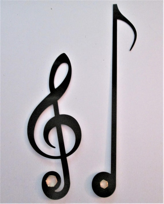 1 Pair of New Shiny Black Aluminum Musical Note Design Clock Hands for your Projects - Steampunk Art - Scrapbooking and Etc.