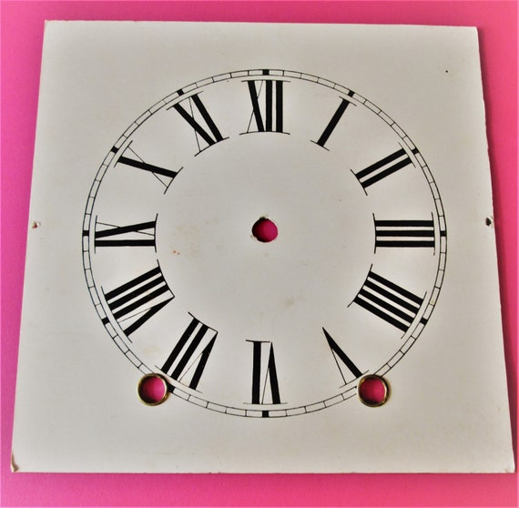 """5 3/4"""" Light Beige Paper Clock Dial on a Steel Base for your Clock Projects and Etc.. Stk#176"""