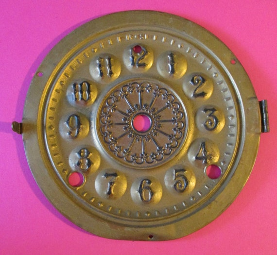 "5 1/2"" Antique Solid Pressed Thick Brass Fancy Clock Dial for your Clock Projects - Art - Stk# 779"